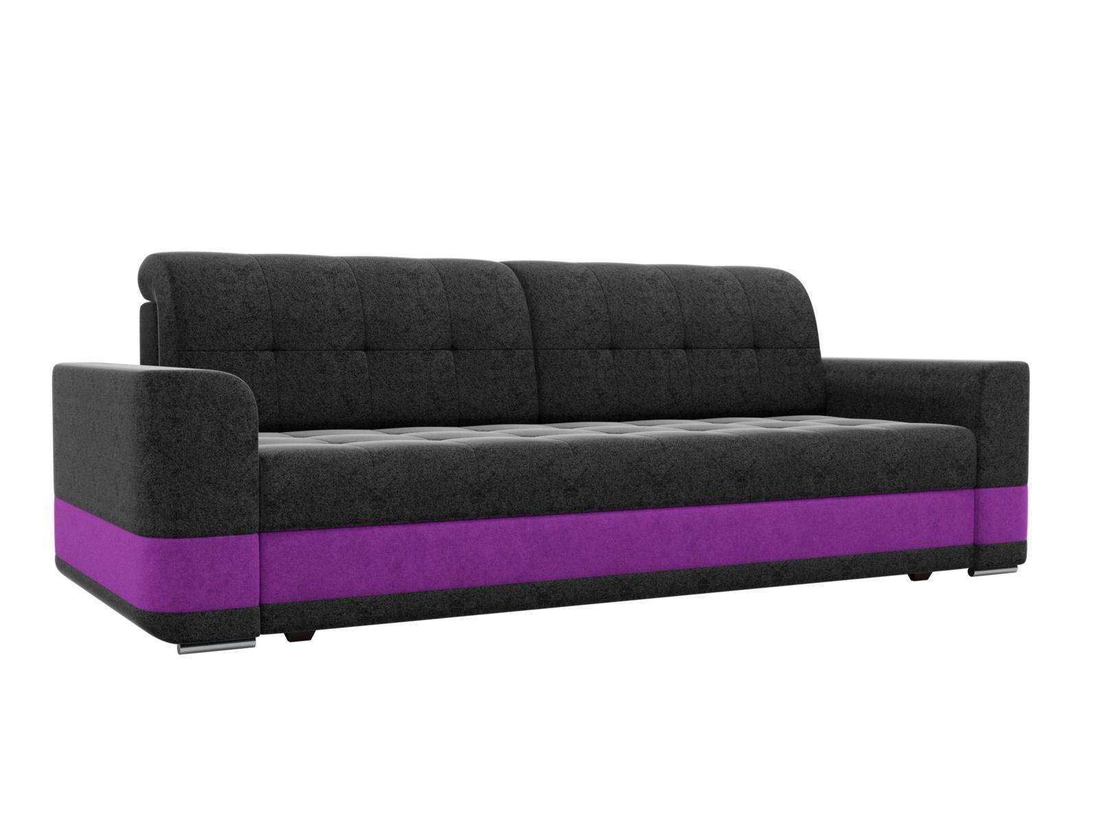 Диван прямой Мебелико Честер микровельвет черный/фиолетовая
