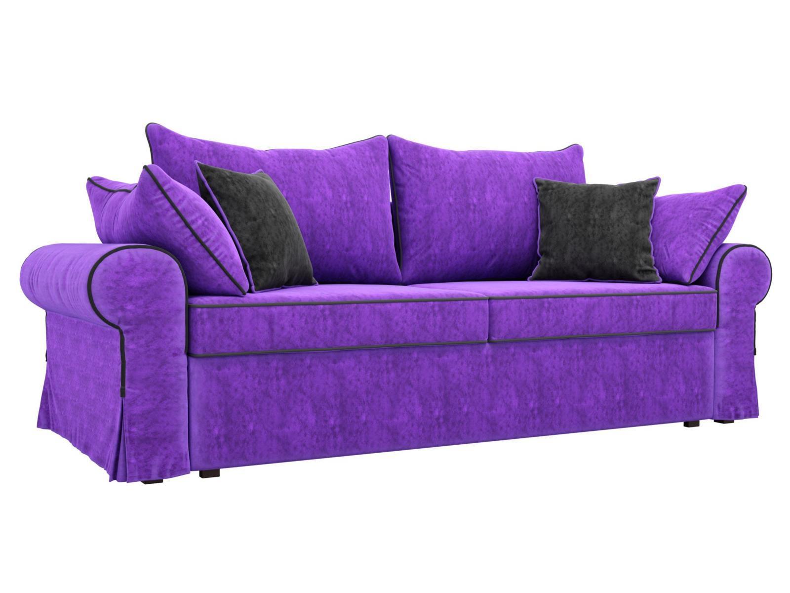 Диван прямой Мебелико Элис велюр фиолетовый