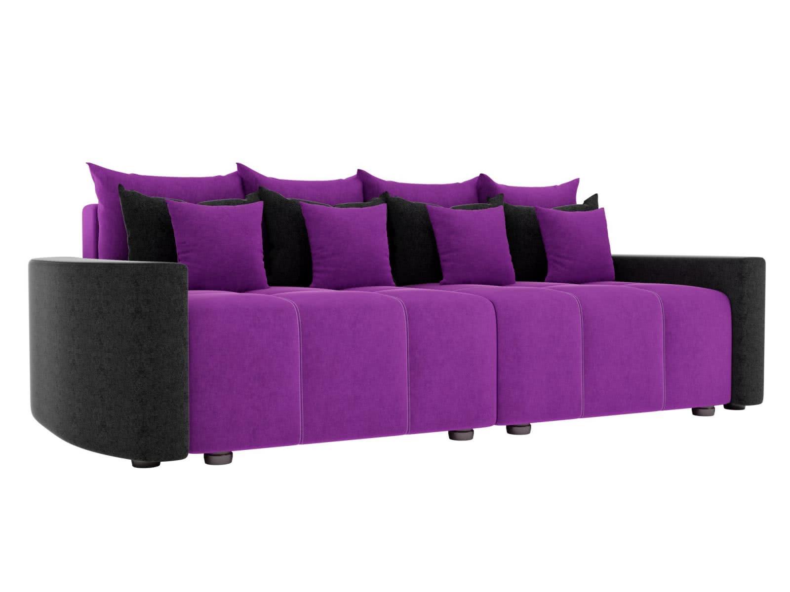 Диван прямой Мебелико Бристоль микровельвет фиолетовый/черный