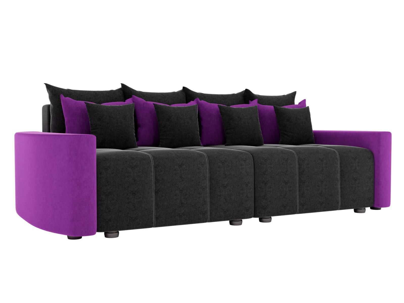 Диван прямой Лига Диванов Бристоль микровельвет черный/фиолетовый
