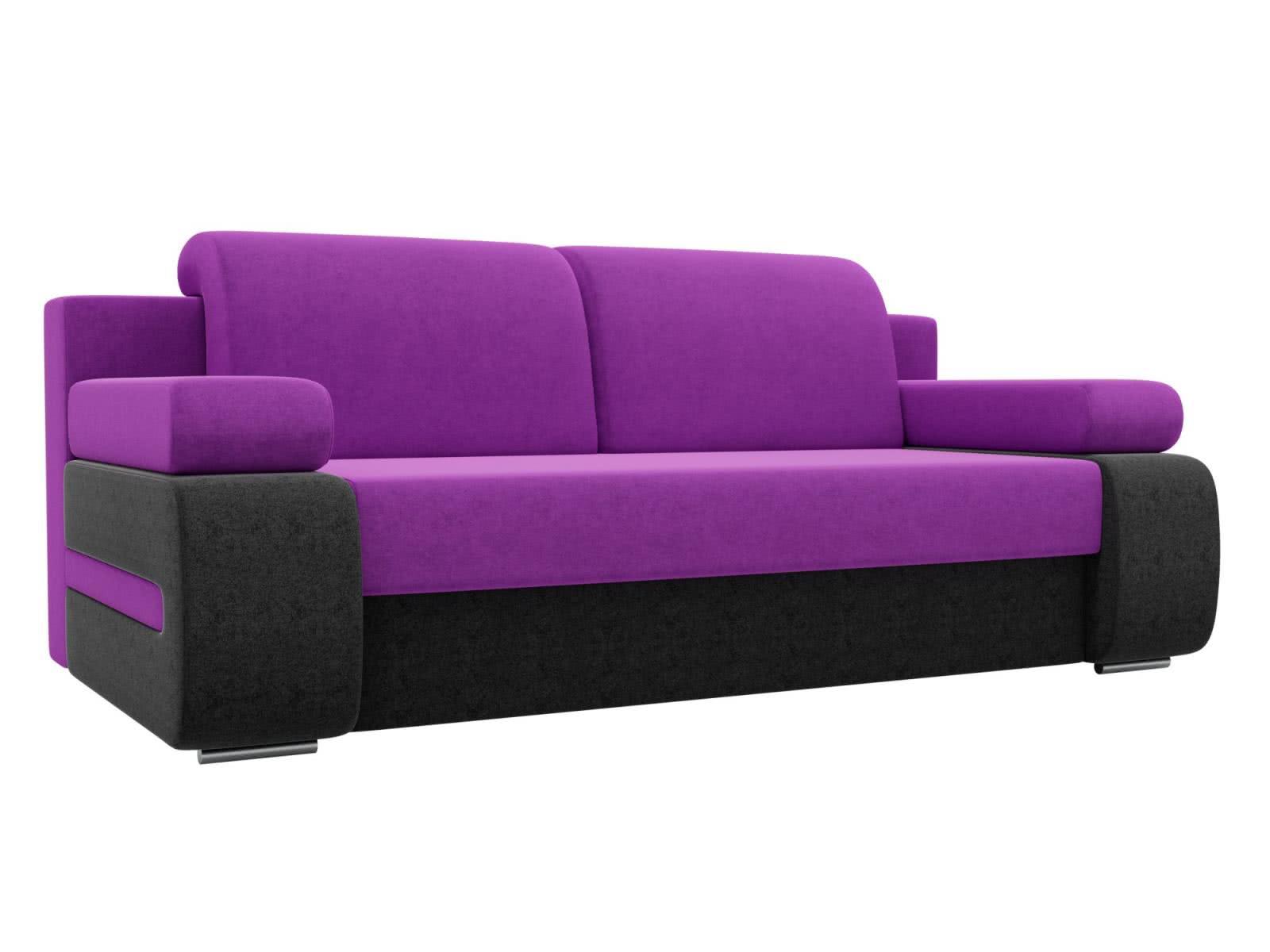 Диван прямой Лига Диванов Денвер микровельвет фиолетовый/черный