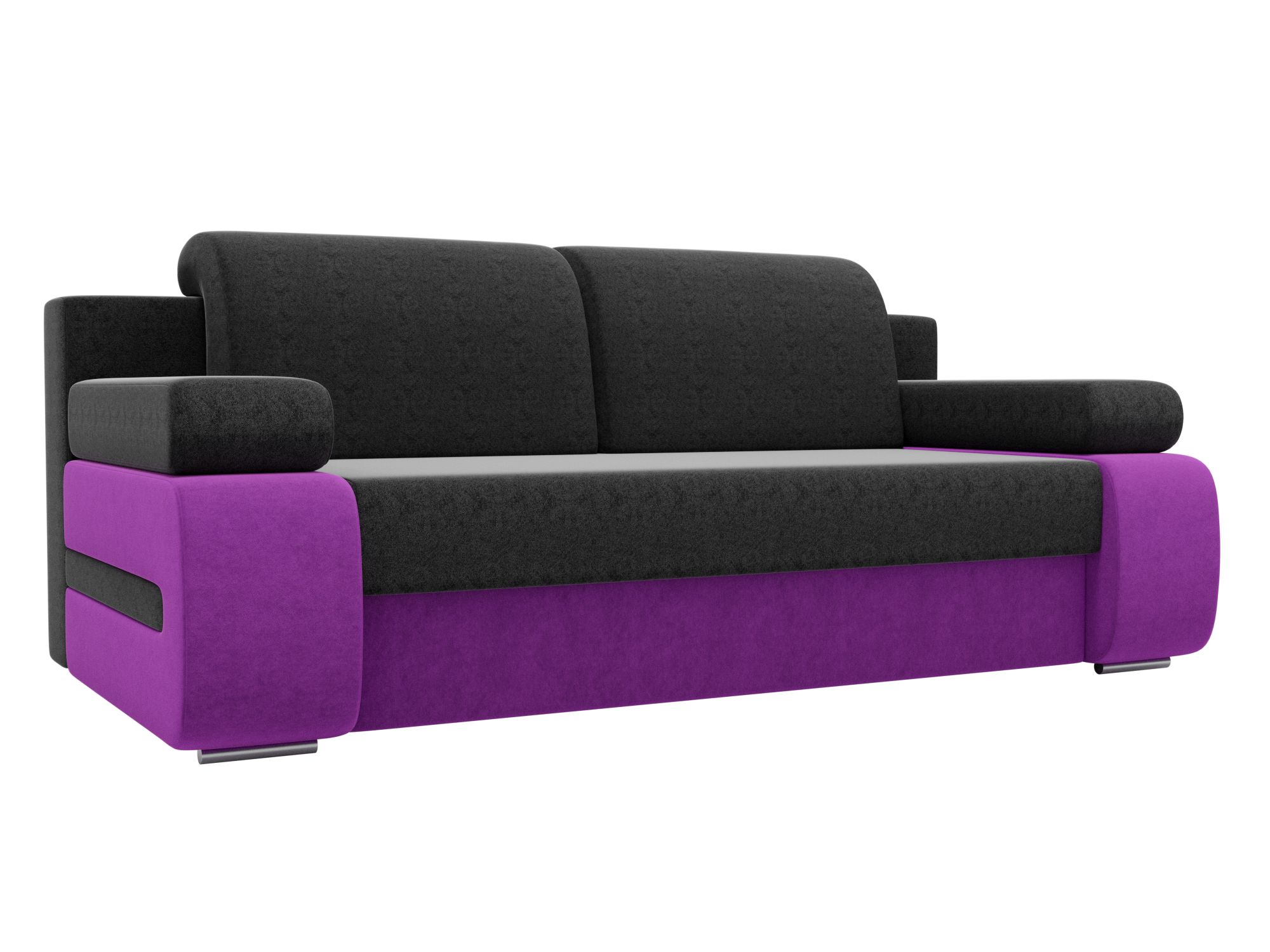 Диван прямой Мебелико Денвер микровельвет черный/фиолетовый