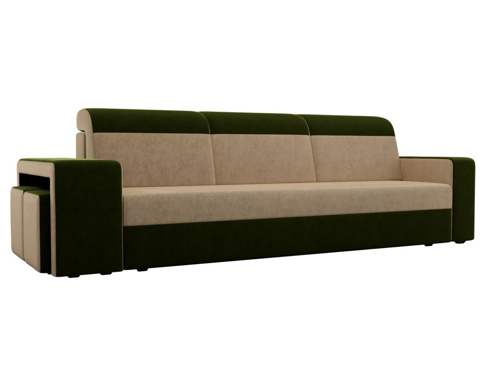 Диван прямой Мебелико Модена с двумя пуфами микровельвет бежевый/зеленый