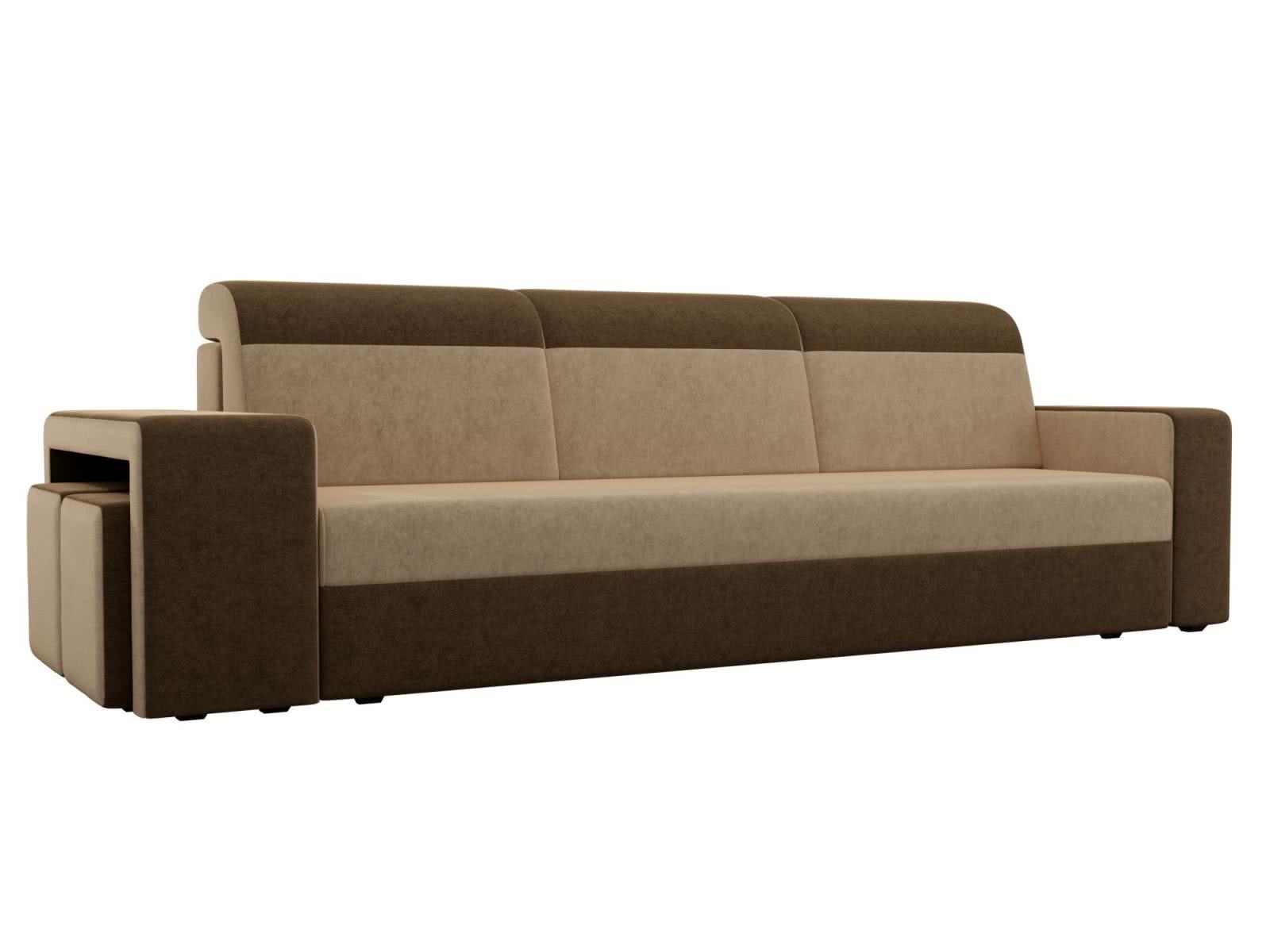 Диван прямой Мебелико Модена с двумя пуфами микровельвет бежевый/коричневый