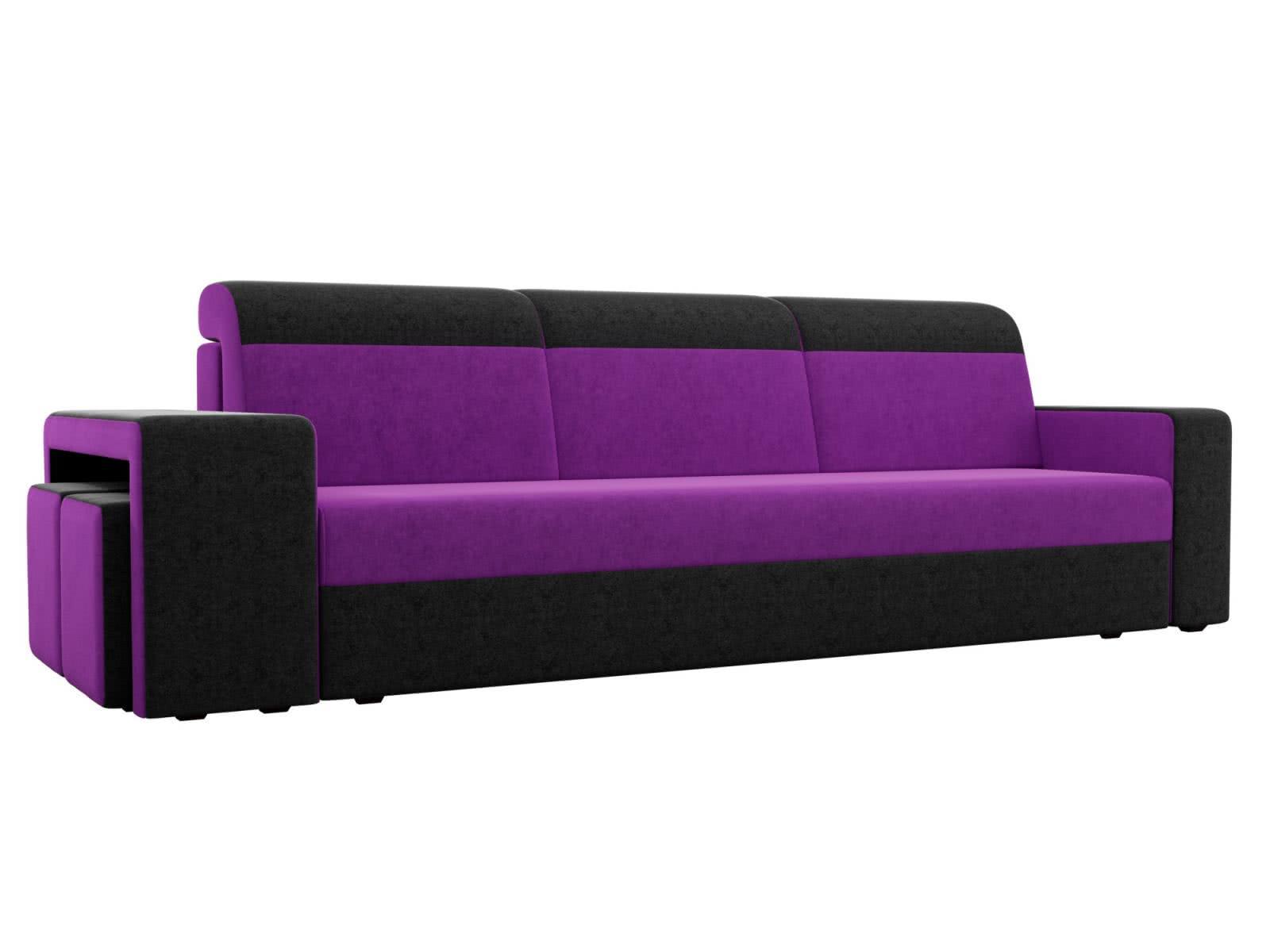 Диван прямой Мебелико Модена с двумя пуфами микровельвет фиолетовый/черный