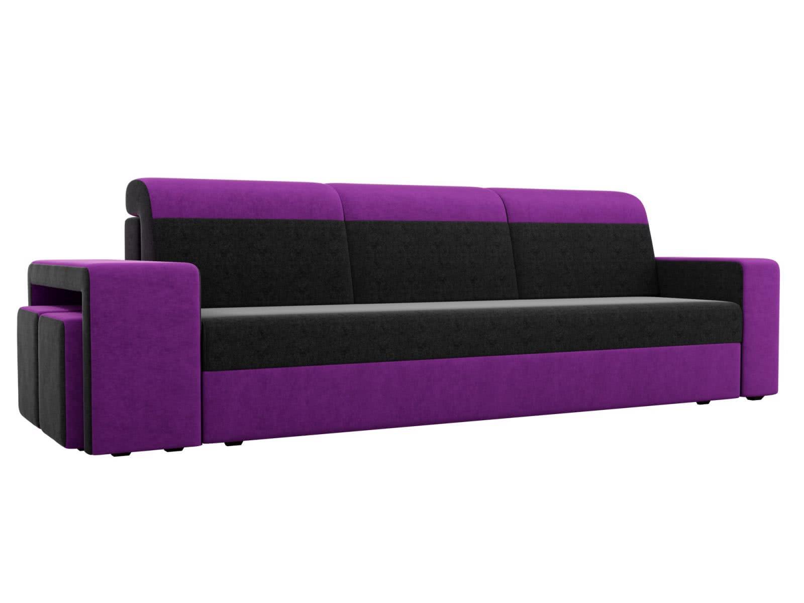 Диван прямой Мебелико Модена с двумя пуфами микровельвет черный/фиолетовый