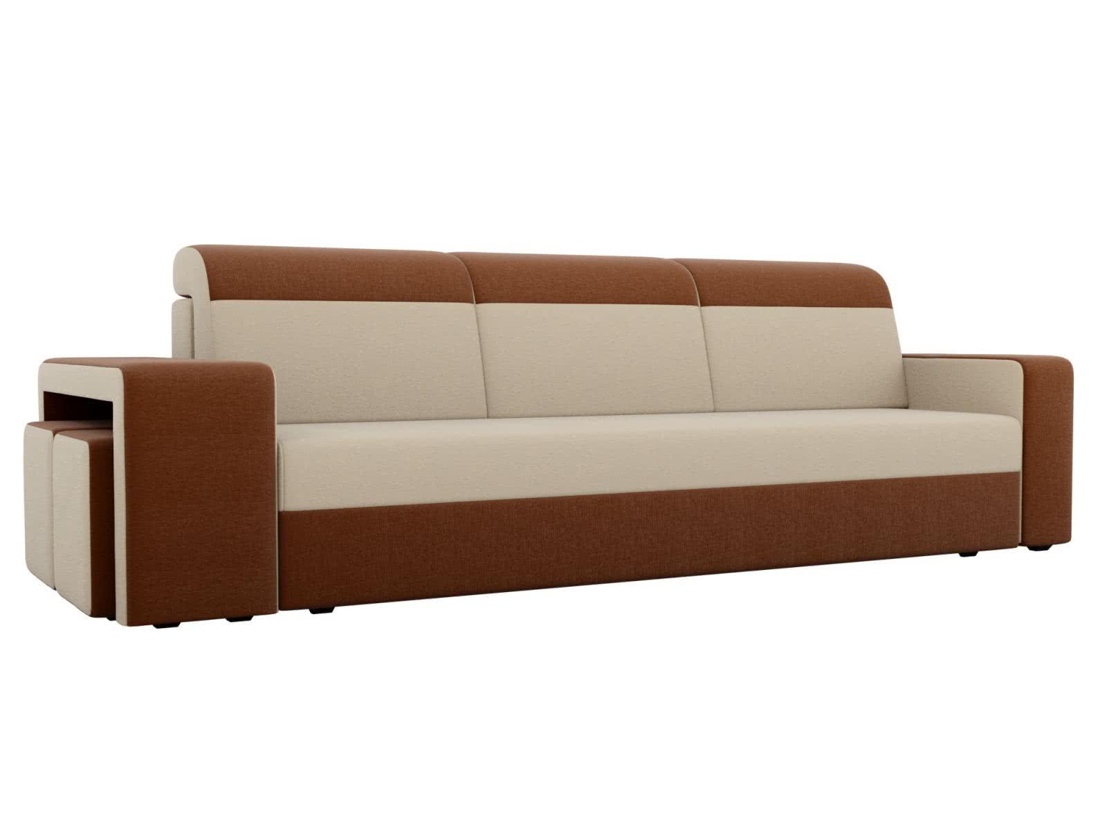 Диван прямой Мебелико Модена с двумя пуфами рогожка коричневые подлокотники
