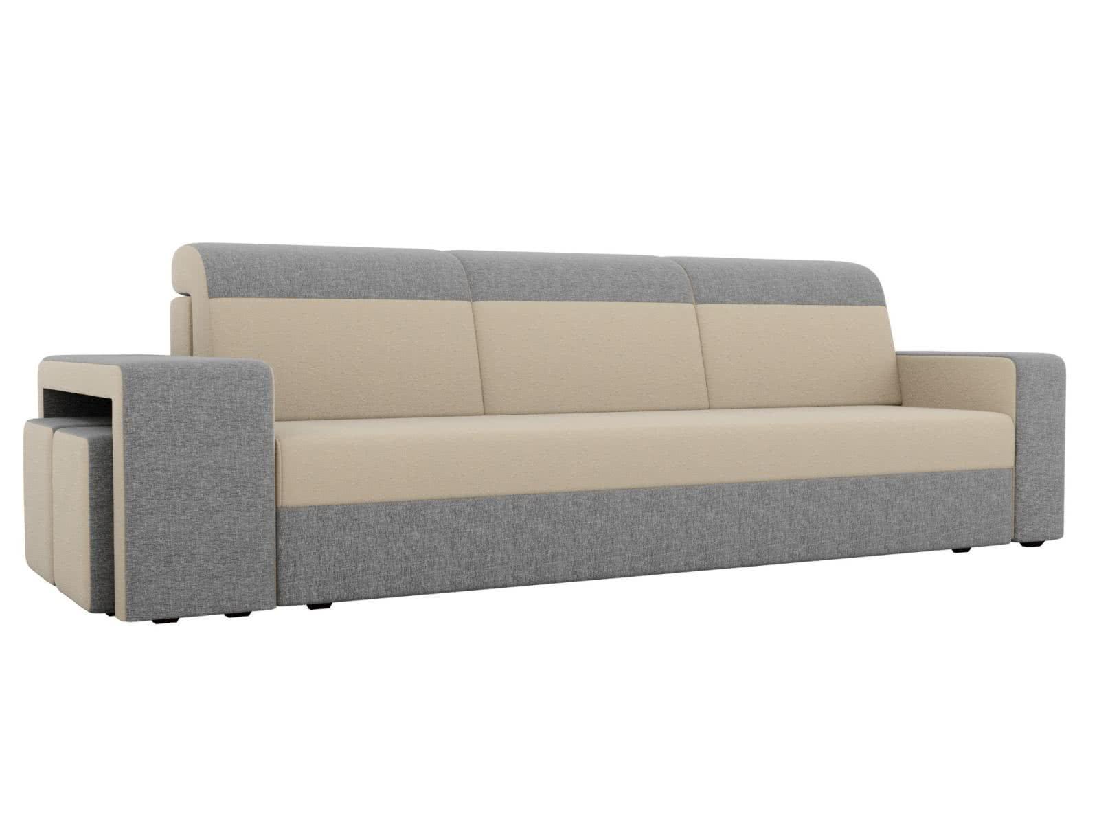 Диван прямой Мебелико Модена с двумя пуфами рогожка серые подлокотники