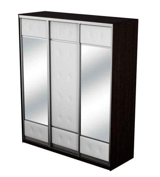 Шкаф-купе 3х дверный Неро/Сезия с двумя зеркалами