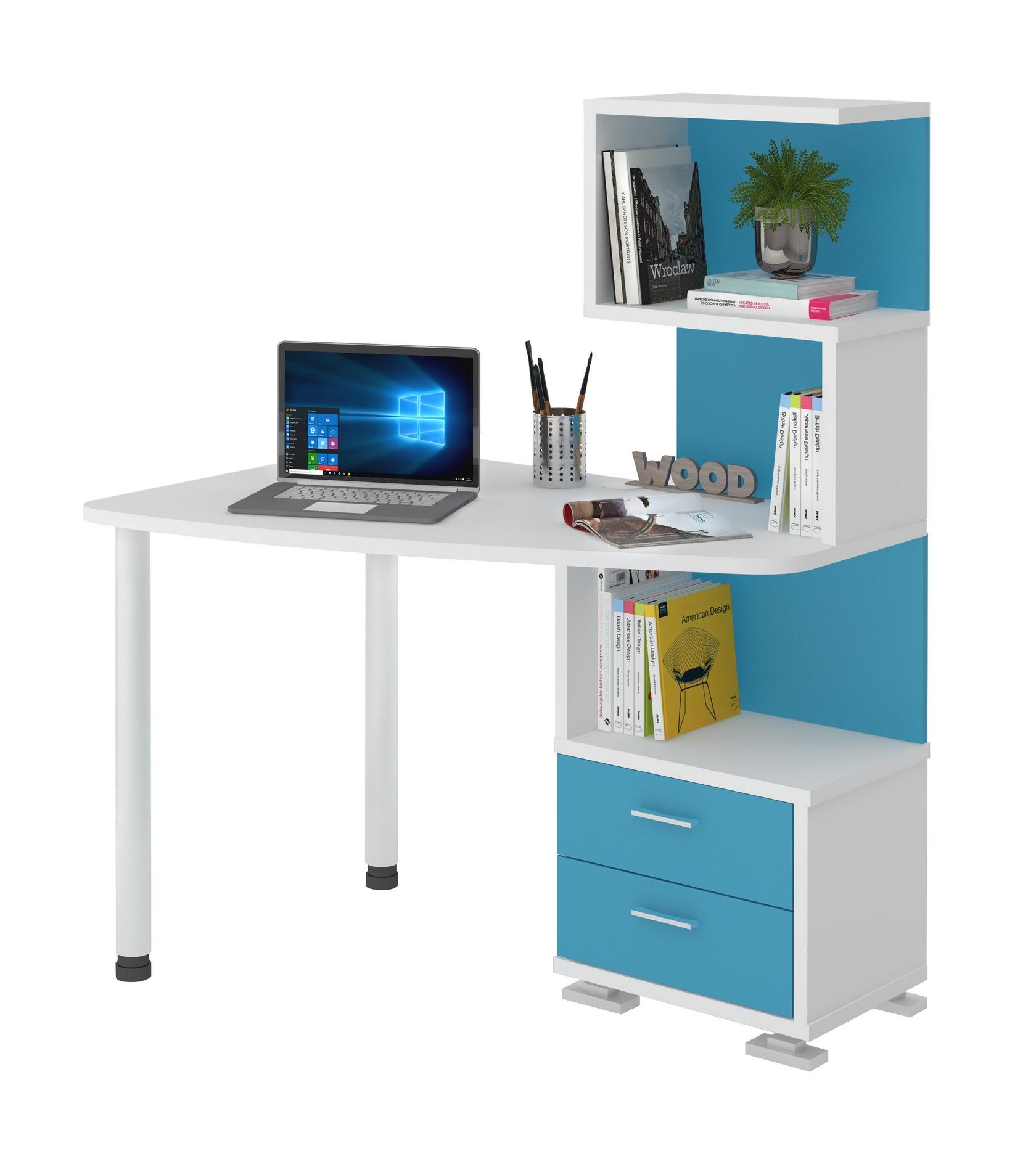 Синие компьютерные столы со шкафом с полками мэрдэс mebhome..