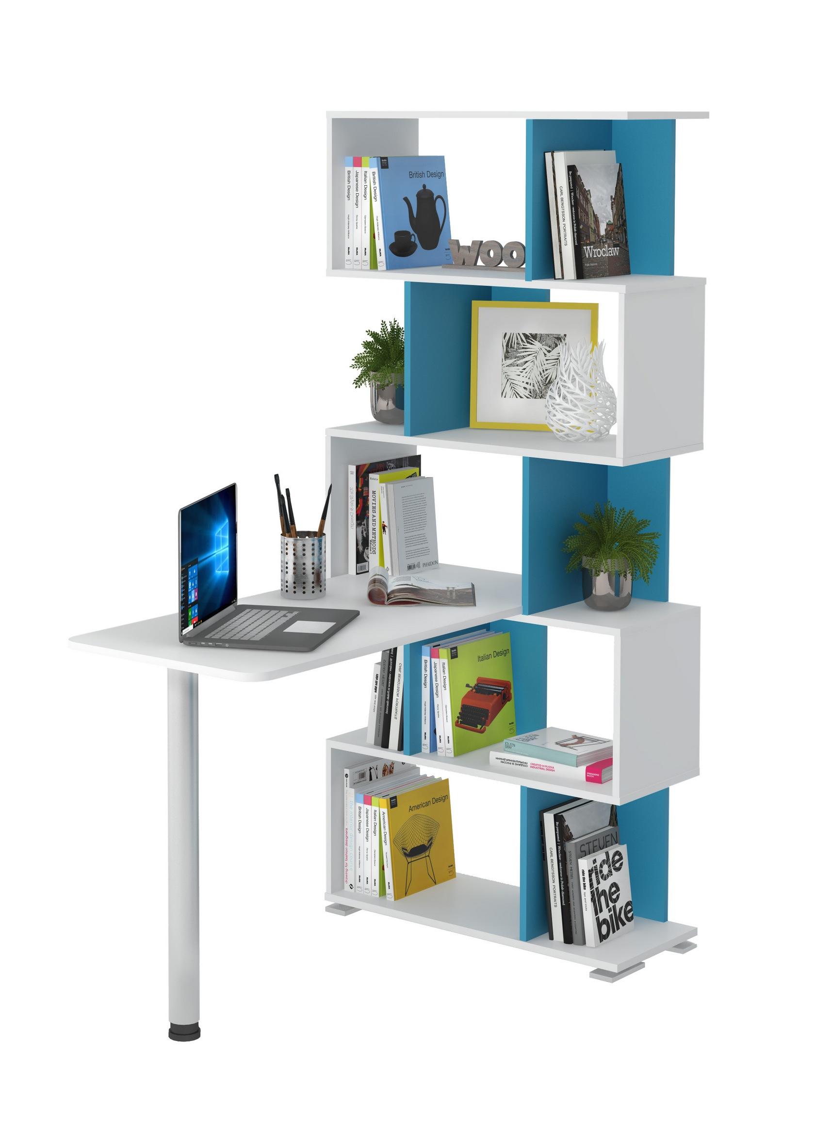 Угловой компьютерный стол мэрдэс сл-5ст белый жемчуг / синий.
