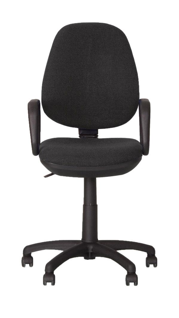 Кресло офисное COLLEGE HLC-0601 черный (экокожа 120 кг подлокотники черный пластик/кожа крестовина черный пластик)