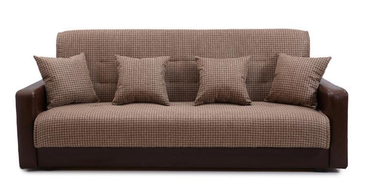 Диван Стоффмебель Лондон (рогожка микс коричневая) с подушками