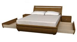 Кровать с двумя выдвижными ящиками, по одному с каждой стороны.