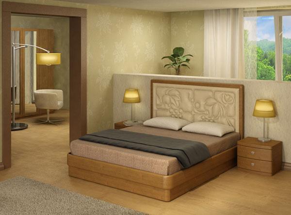 Кровать Торис Юма с кожаным изголовьем