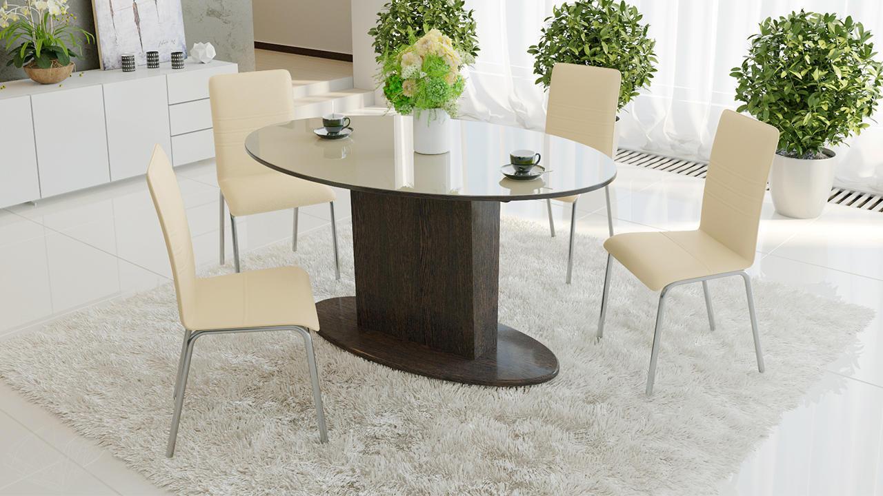 Стол обеденный ТриЯ Марсель раздвижной со стеклом, арт. СМ(Б)-102.01.12(2)