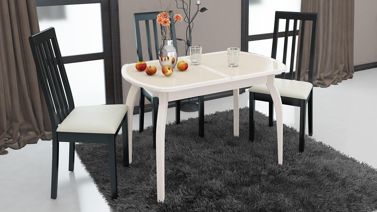 Стол обеденный ТриЯ Ницца раздвижной на деревянных ножках, арт. СМ-217.01.15