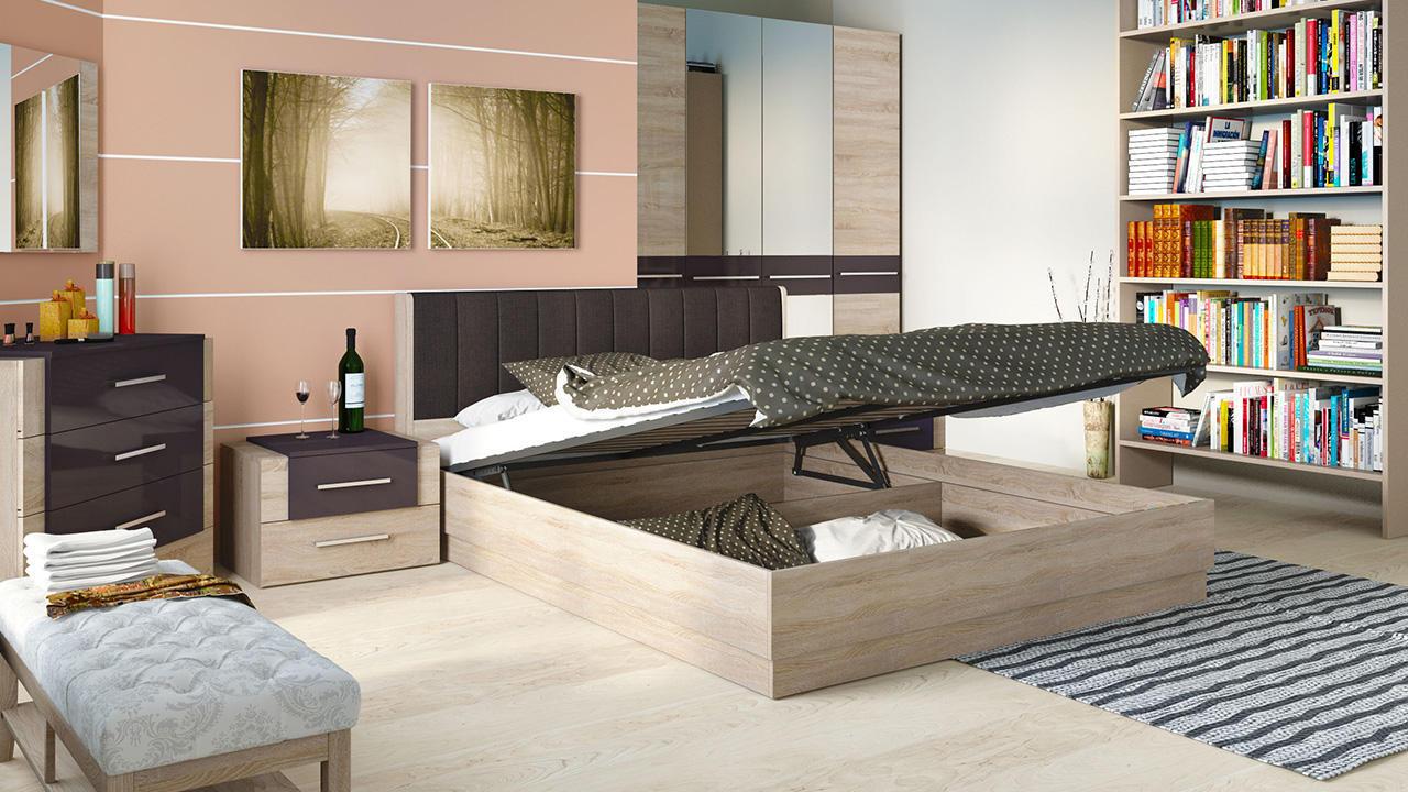 Кровать ТриЯ Ларго подъемная с мягкой спинкой, СМ-181.01.004 (160) какао текстиль