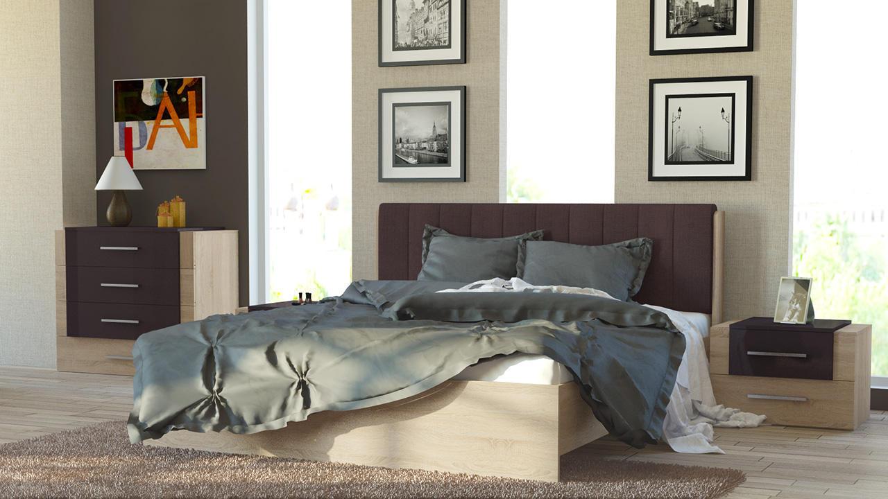Кровать ТриЯ Ларго с мягким изголовьем, СМ-181.01.002 (160) какао текстиль