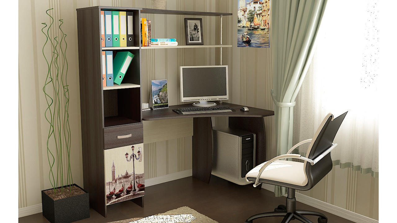 Компьютерные столы со шкафом с ящиками цвета светлого дуба т.