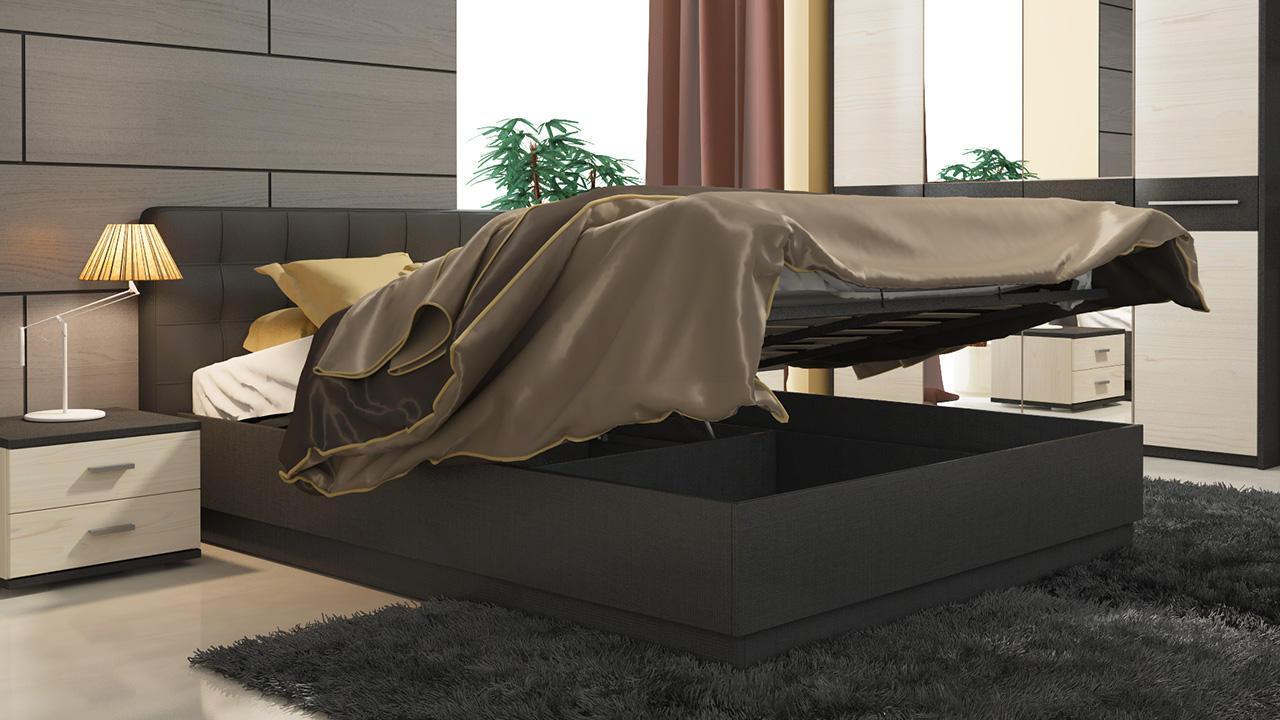 Кровать ТриЯ Сити с подъёмным механизмом и мягкой спинкой, СМ-194.01.004 (160)