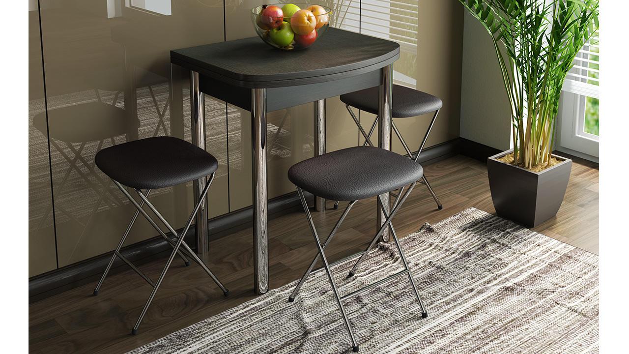 Стол обеденный ТриЯ Лион мини с хромированными ножками, арт. СМ-204.01.2