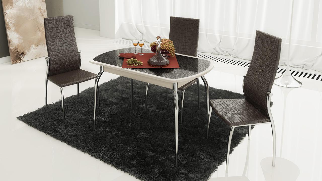 Стол обеденный ТриЯ Ницца раздвижной с хромированными ножками , арт. СМ-217.01.1