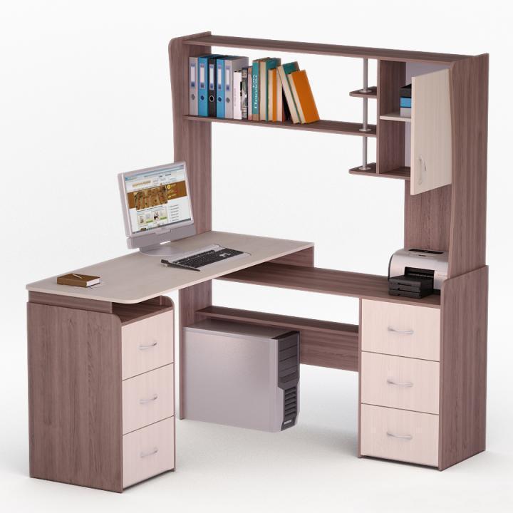 Высокие компьютерные столы с надстройкой для кабинета цвета .