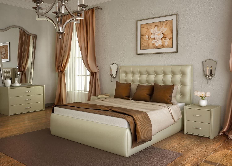 Спальный гарнитур с мягкой кроватью фото